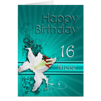 Carte d'anniversaire pour la nièce, 16 avec un lis