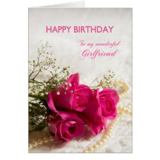 Carte d'anniversaire pour l'amie avec les roses