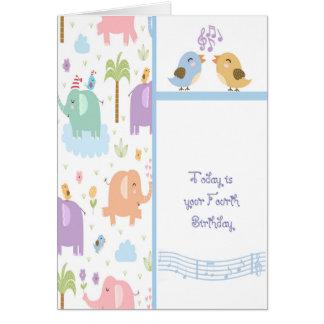 Carte d'anniversaire pour l'enfant de quatre ans