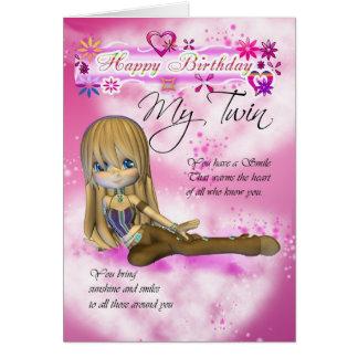 Carte d'anniversaire pour mon jumeau, colle de