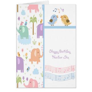 Carte d'anniversaire pour six enfants d'ans