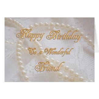 Carte d'anniversaire pour un ami avec des perles