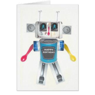 Carte d'anniversaire réutilisée de robot