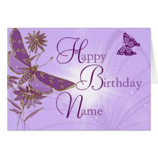 Carte d'anniversaire rose de papillon de chaux de