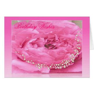 Carte d'anniversaire rose de pivoine et de perles