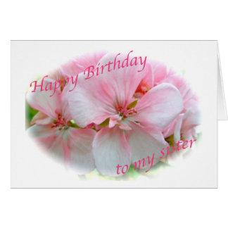Carte d'anniversaire rose de soeur d'azalée