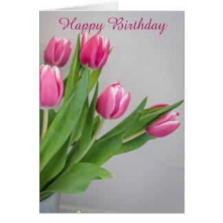 Carte d'anniversaire rose de tulipe