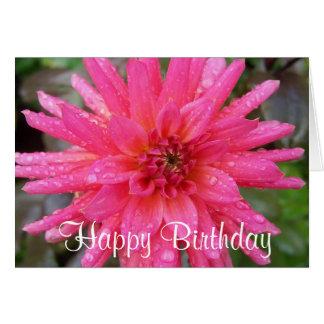 Carte d'anniversaire rose lumineuse de dahlia