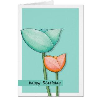 Carte d'anniversaire turquoise de l'orange 2 de