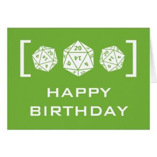 Carte d'anniversaire verte de Gamer des matrices