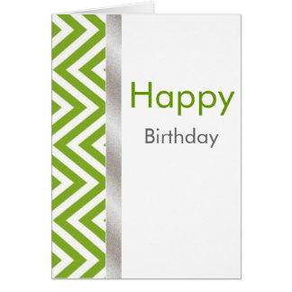 Carte d'anniversaire verte et blanche de Chevron