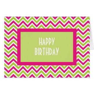 Carte d'anniversaire verte et rose de Chevron de