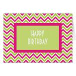 Carte d'anniversaire verte et rose de Chevron de z