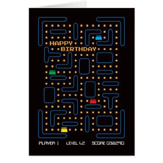 Carte d'anniversaire vintage de jeu d'ordinateur