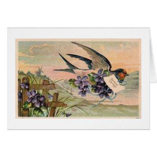 Carte d'anniversaire vintage de violettes