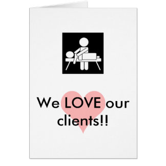 Carte d'appréciation de client de massage