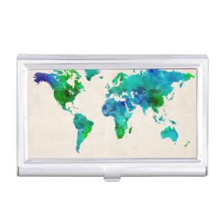 Carte d'aquarelle de la carte du monde boîtier pour cartes de visite