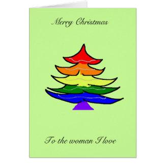 Carte d'arbre de Noël d'arc-en-ciel