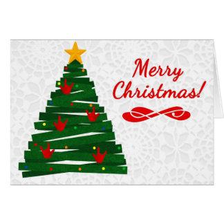 Carte d'arbre de Noël d'ASL avec des ornements