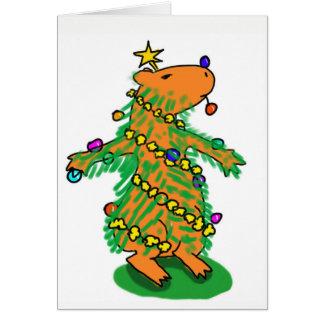 Carte d'arbre de Noël de Capybara
