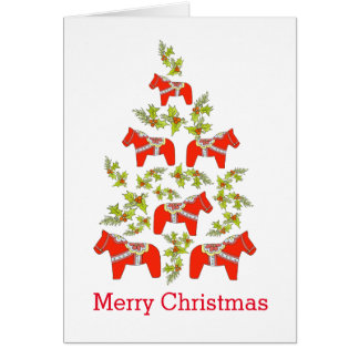 Carte d'arbre de Noël de cheval de Dala