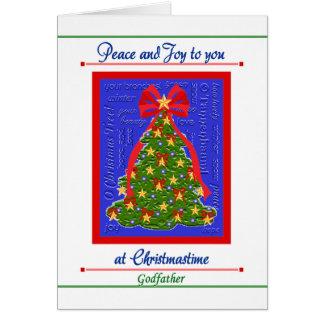 Carte d'arbre de Noël pour le parrain - paix et