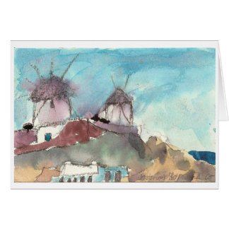 "Carte d'art d'aquarelle ""de moulins à vent de"