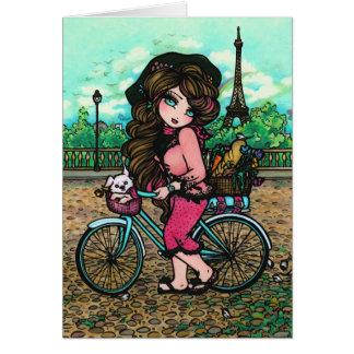 Carte d'art de fille d'imaginaire de vélo de chien