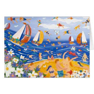 Carte d'art : Festins pour la plage. Sunbathers et