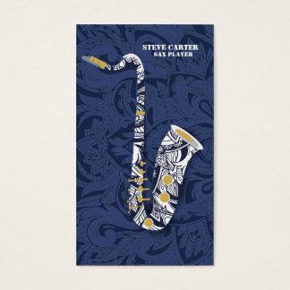 Carte d'artiste de musique de joueur de saxophone