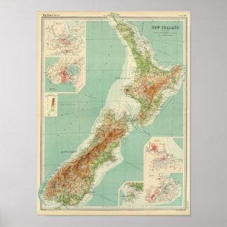 Carte d'atlas de la Nouvelle Zélande Affiche