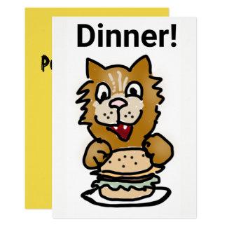 Carte de bande dessinée d'invitation de dîner de carton d'invitation  12,7 cm x 17,78 cm