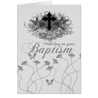 Carte de baptême avec des fleurs et des oiseaux de