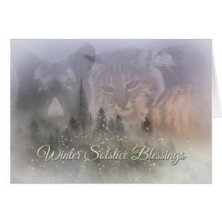 Carte de bénédictions de solstice d'hiver de faune