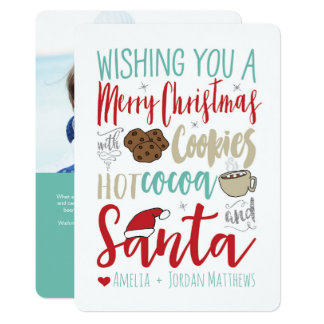 Carte de biscuits, de cacao et de Noël de Père Carton D'invitation 12,7 Cm X 17,78 Cm