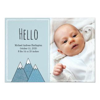 Carte de bleus layette de garçon d'annonces de carton d'invitation  12,7 cm x 17,78 cm