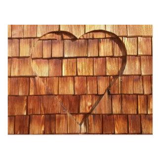 Carte de bois coeur carte postale