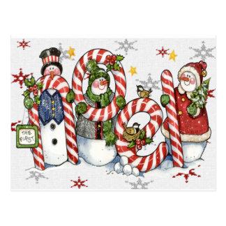 carte de bonhommes de neige de noel carte postale