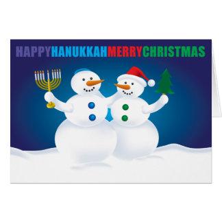 Carte de bonhommes de neige de Noël de Hanoukka