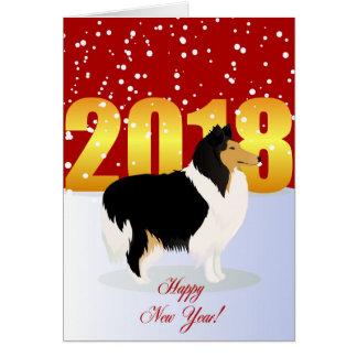 Carte de bonne année avec le colley