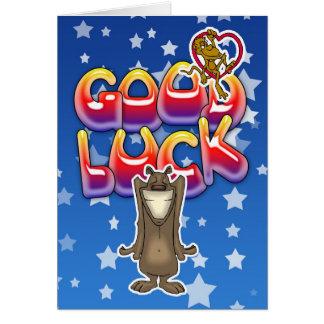 Carte de bonne chance avec le chien et le singe