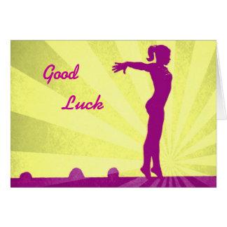 Carte de bonne chance avec le gymnaste rose