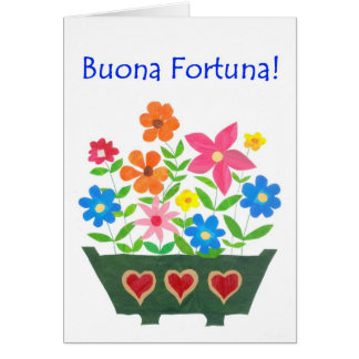 Carte de bonne chance, salutation italienne -