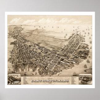 Carte de Boston est, le Massachusetts en 1879 Poster