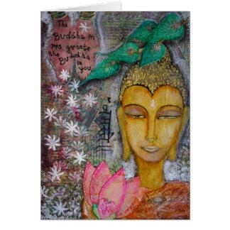 Carte de Bouddha avec Namaste dans le Hindi d'Inde