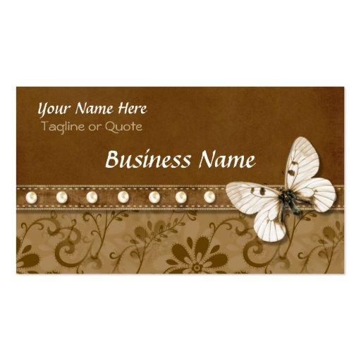 Carte de Businees de papillon et de perles Cartes De Visite Professionnelles