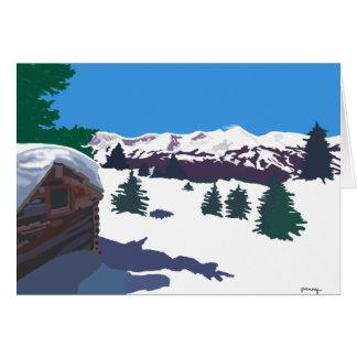Carte de cabine de rondin d'hiver
