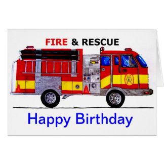 Carte de camion de pompiers de joyeux anniversaire