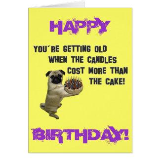 Carte de carlin de joyeux anniversaire