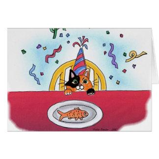 Carte de chat de célébration (calicot)
